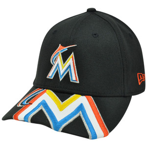 MLB New Era 39Thirty 3930 Melviz Classic Miami Marlins Flex Fit Hat Cap SM