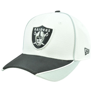 NFL New Era 3930 39Thirty Abrasion Flex Fit White Hat Cap Oakland Raiders M/L