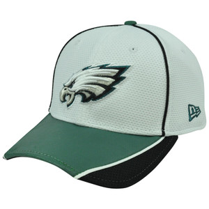 NFL New Era 39Thirty Abrasion Flex Fit White Hat Cap Philadelphia Eagles S/M