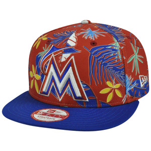 MLB Miami Marlins Multi Hawaiin New Era 9Fifty Adjustable Buckle Red Hat Cap S/M
