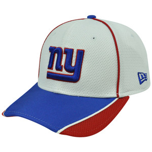 NFL New Era 3930 39Thirty Abrasion Flex Fit White Hat Cap New York Giants S/M