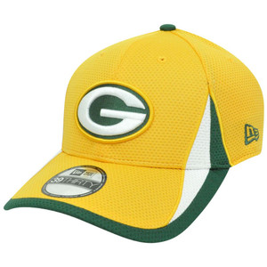 NFL New Era 3930 Green Bay Packers Training Camp Flex Fit S/M Hat Cap Yellow