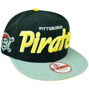 MLB New Era 9Fifty Pittsburgh Pirates Team Script Heather Strap Back Hat Cap