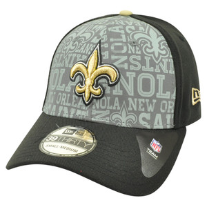 NFL New Era 39Thirty 2014 Reflective New Orleans Saints Flex Fit Hat Cap S/M