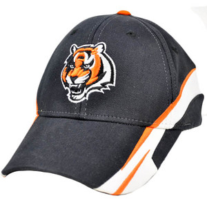 NFL Cincinnati Bengals Large XLarge XL Black Orange White Flex Fit Team Hat Cap
