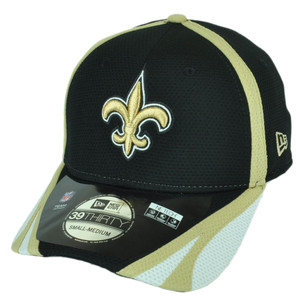 NFL New Era 39Thirty New Orleans Saints Team Color Training Flex Fit M/L Hat Cap