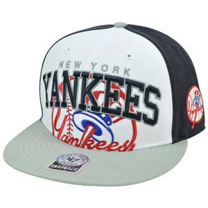 MLB '47 Brand New York Yankees Wool MVP Blue Snapback Flat Brim Two Tone Hat Cap