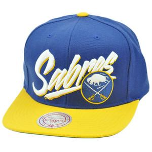 NHL LNH Mitchell Ness Throwback Vice Script Snapback Hat Cap NE93 Buffalo Sabres