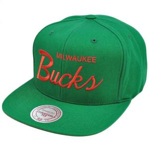 NBA Mitchell Ness Vintage Twill Script Snapback Hat Cap NZ926 Milwaukee Bucks