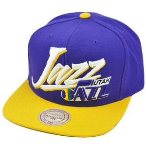 NBA Mitchell Ness Vintage Vice Script Snapback Hat Cap NE40 Utah Jazz Wool