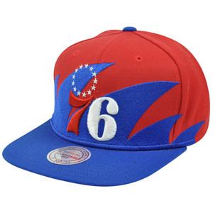 NBA Mitchell & Ness Sharktooth NZA04 Snapback Flat Hat Cap Philadelphia 76ers