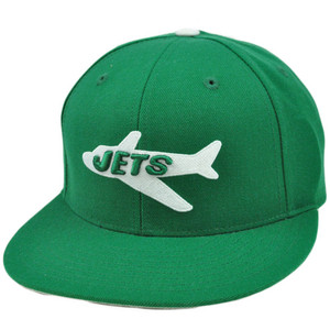 NFL Mitchell & Ness Throwback Logo Hat Cap Fitted New York Jets Wool TK42 Size 7