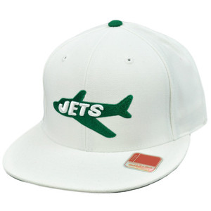 NFL Mitchell Ness Throwback Logo Hat Cap Fitted New York Jets White Wool Size 7