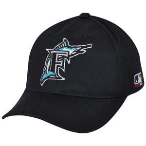 MLB Florida Marlins MLB375 Mesh Stretch Fit Youth Black Teen Boys Kids Hat Cap
