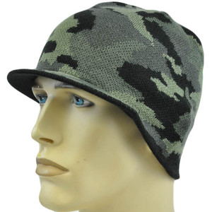 Faded Glory Youth Kids Child One Size Camo Hunting Billed Beanie Knit Hat Skully