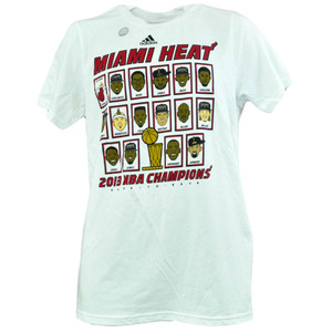 NBA Adidas 2013 Champions Miami Heat Full Roster Cartoon Parade Tshirt