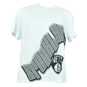 NBA UNK Brooklyn Nets Wave Logo Basketball Shirt White Authentic Tshirt Mens Tee