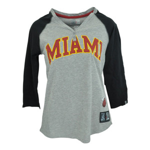 Miami Heat Unk NBA Half Sleeve Tee Button VNeck Shirt Women Ladies Grey