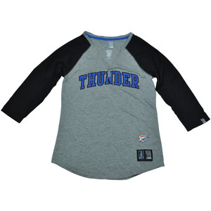 Oklahoma City Thunder Unk NBA Half Sleeve Tee Button Vneck Shirt Women Ladies