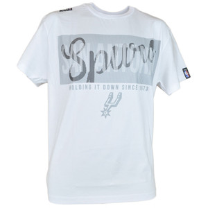 NBA UNK San Antonio Spurs Fine Line Men Adult White Basketball Tshirt Tee