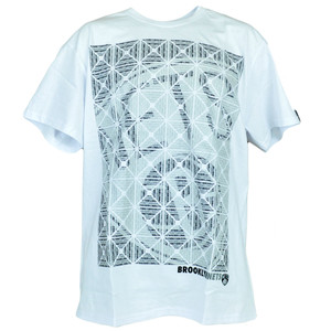 NBA Brooklyn Nets Basketball Kaleidoscope White Mens Adult Tshirt Authentic Tee