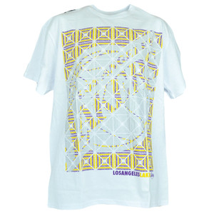 NBA Los Angeles Lakers Basketball Kaleidoscope White Tshirt Authentic Tee