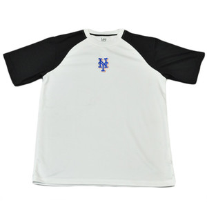 MLB New York NY Mets Licensed Polyester Sport T Shirt Tee White Black Adult