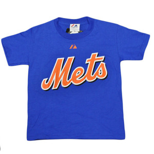 MLB New York Mets Johan Santana 57 Youth Kids Baseball Tshirt Tee Blue Orange