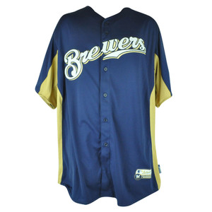 MLB Majestic Milwaukee Brewers Cool Base Batting Practice Mens Baseball Jersey