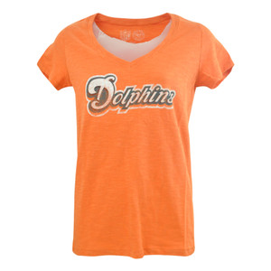 NFL '47 Brand Miami Dolphins Women Ladies Vneck G2 Wordmark Scrum Tshirt Tee