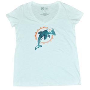 NFL 47 Brand Miami Dolphins Women Ladies Logo Scrum Vneck Tee White DW4500