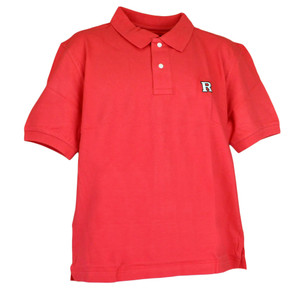NCAA Rutgers Scarlet Knights Logo Pique Polo Red Collar Dress Button Shirt