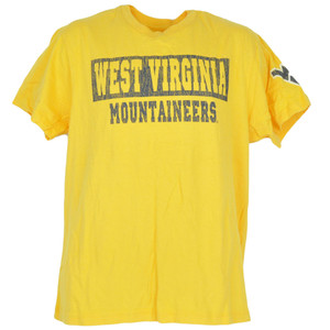NCAA Distressed West Virginia Mountaineers Yellow Mens Adult Tshirt Tee