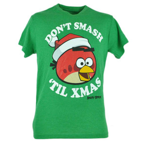 Angry Birds Dont Smash Til Xmas Christmas Graphic Humor Tshirt Tee Green