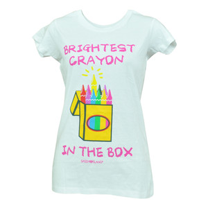Brightest Yellow Crayon In The Box Junior Girls Youth White Tshirt Tee