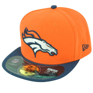 NFL New Era 59Fifty 5950 Denver Broncos On Field Flat Bill Fitted Hat Cap