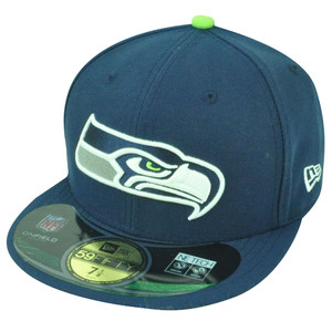 NFL New Era 59Fifty 5950 Seattle Seahawks On Field Flat Bill Fitted Hat Cap