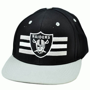 NFL Oakland Raiders Black Gray White Authentic Reebok Snapback Flat Bill Hat Cap