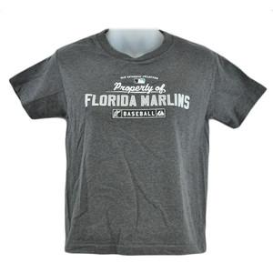 MLB Florida Miami Marlins Baseball Youth Kids Girls Cotton Tshirt Sport Tee Gray