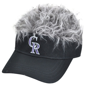 MLB Colorado Rockies Creed Flair Grey Hair Visor Adjustable Fan Velcro Hat Cap