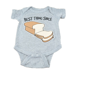 Best Thing Since Bread Authentic Spencers Funny Fashion Baby Body Suit Grey 6M