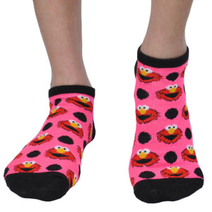 Sesame Street 2 Pair Cookie Monster Elmo Official Licensed Pink Polka Dot Socks