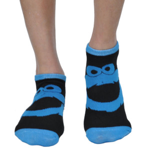 Sesame Street 2 Pair Cookie Monster Elmo Official Licensed Black Ankle Socks
