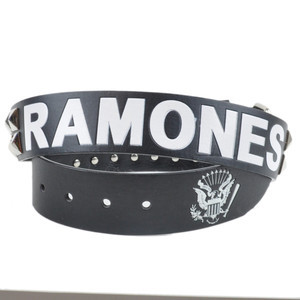 Ramones Music Rock Band Metal Pyramid Studded Faux Leather Black Belt