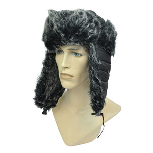 Black Bomber Faux Fur Aviator Pilot Ear Flap Winter Hat Cap Ski Trooper Solid