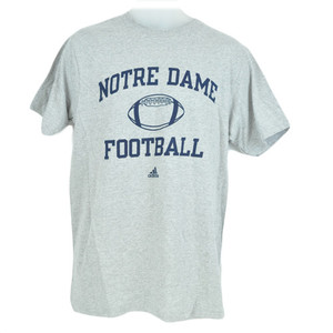 NCAA Adidas Notre Dame Fighting Irish Crew Neck Tshirt Licensed Adult Gray Blue