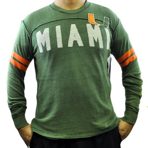 NCAA Miami Hurricanes Rave Cotton Long Sleeve Shirt Sweatshirt GIII Sport Medium