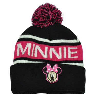36a149d61148fc Disney Minnie Mouse Character Pom Word Mark Beanie Knit Cuffed Hat Black  Toque