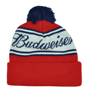 Budweiser King of Beer Red Pom Pom Knit Beanie Toque Cuffed Hat Alcohol Beverage