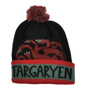 Game of Thrones Targaryen Dragon HBO Show Pom Pom Cuffed Toque Knit Beanie Hat